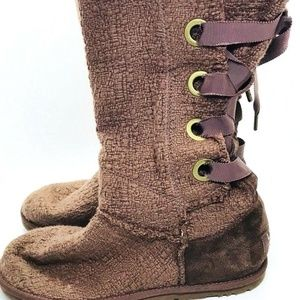 UGG AUSTRALIA BOOTS HEIRLOOM Lace UP Brown Womens